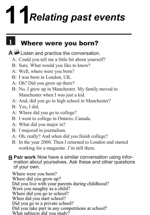 English conversations unit 11 1A Relating past events where were you born Relating past events   where were you born