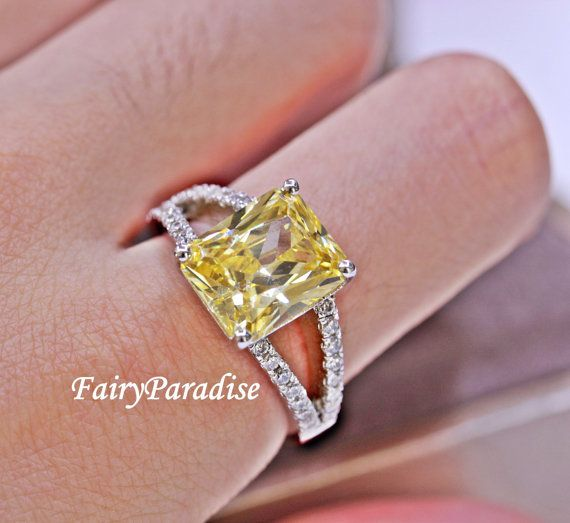 8 Ct Radiant Cut Man Made Yellow Diamond Engagement Ring / Promise Rings,  Pave Split Shank in 925 Silver, alternative engagement ring R288