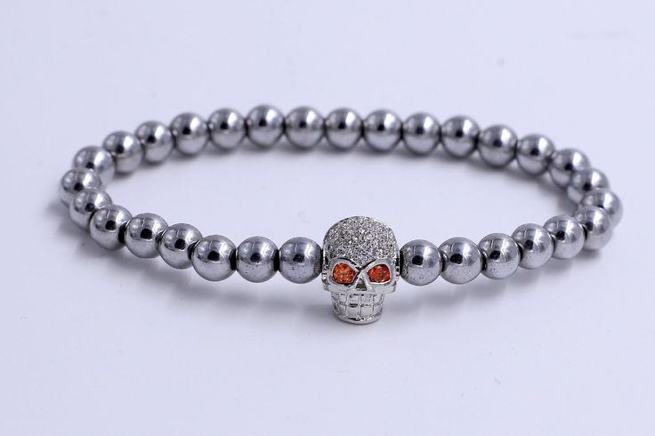 High Polish Stainless Steel Bead Luxury Skull Charms Bracelet Men Bead Bracelet