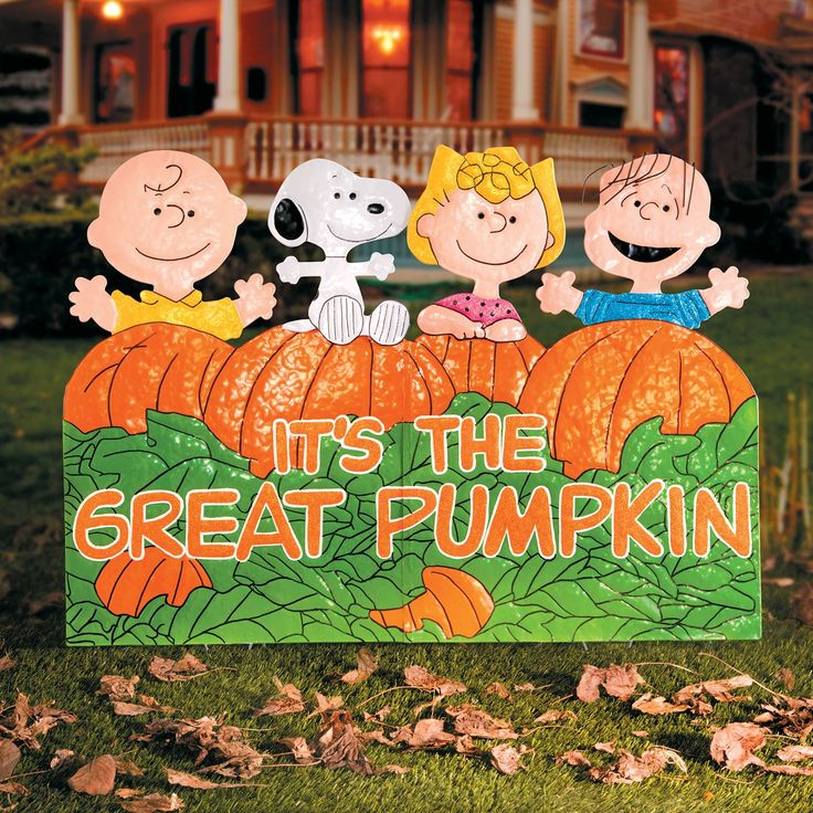 its the great pumpkin charlie brown metal outdoor halloween decoration - Great Halloween Decorations