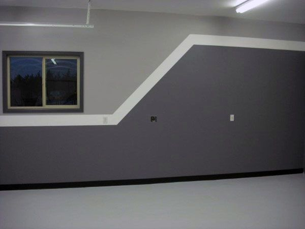 Two Tone Paint Garage Walls With White Strip In Middle