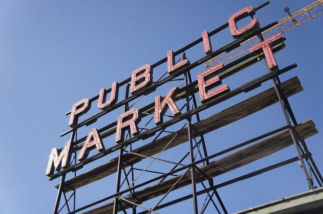 Pike Place Market Sign, Seattle, Washington, USA.