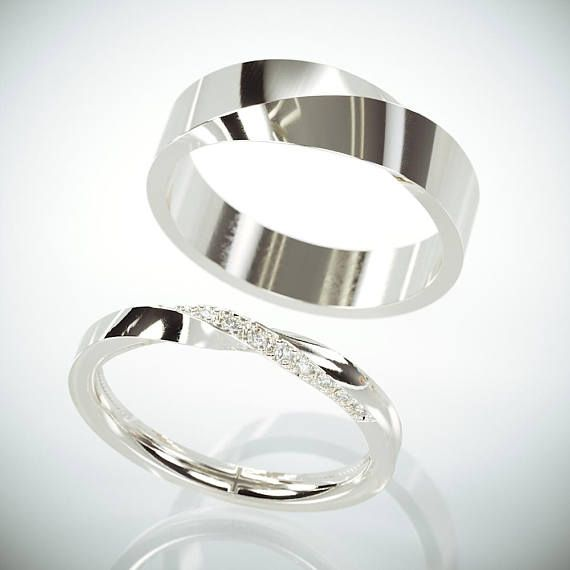 His and Hers Mobius Wedding Band Set | White Gold Mobius Wedding Ring Set with Diamonds | Twist Wedding Ring Set with Diamonds
