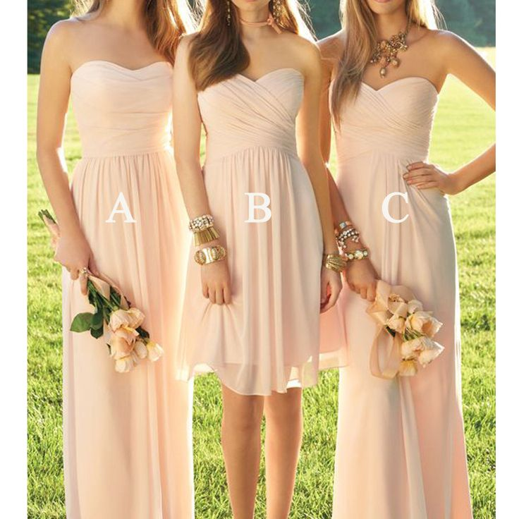 Blush Pink Mismatched Chiffon Long/Short Bridesmaid Dresses, PM0204 The dress is fully lined, 4 bones in the bodice, chest pad in the bust, lace up back or zipper back are all available. This dress co