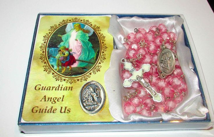 286 best easter gifts images on pinterest easter gift spiritual pink guardian angel rosary with prayer card catholic gift sale negle Images