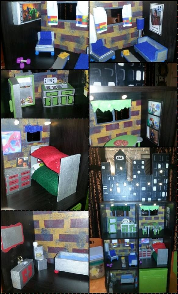 Superhero house! I created a superhero house for my nephew from a small book shelf. If interested in hearing more - email/FB me!