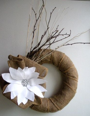 Burlap Poinsetta wreath with birch branches