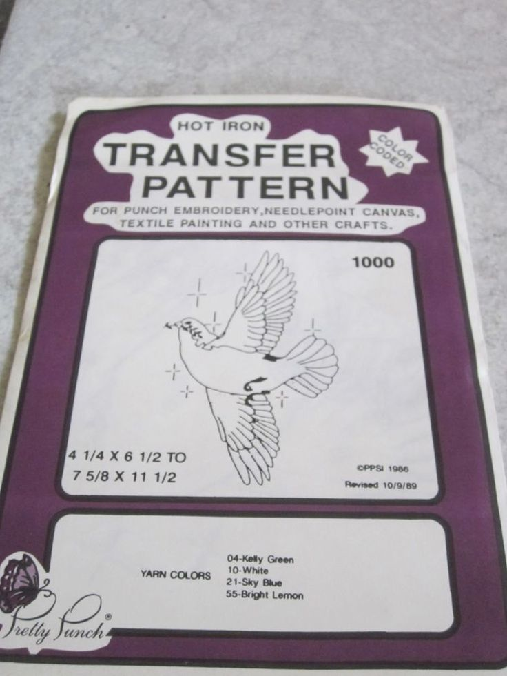 Iron on Transfer Pattern - Pretty Punch Peace Dove  # 1000