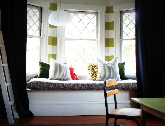 modern colorful bay window seating