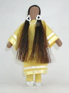 """Authentic Native American Lakota No Face doll - """"Yellow Calico"""" by Diane Tells His Name"""