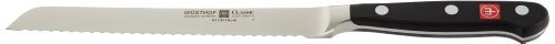 "Wusthof 4419-7 Classic Serrated Salami Knife 6-in. by Wusthof-Trident of America, Inc.. $79.95. Origin: Germany. Cleaning & Care: Handwash with Mild Cleanser. Warranty: Lifetime. Construction: Forged. Material: High-Carbon, No Stain Steel. The serrated edge of this Classic 6"" Baguette Knife makes cutting a loaf as easy as slicing through warm butter.Prized possessions of professional chefs, Wusthof knives are an invaluable asset of any kitchen. Every element of this renowne..."