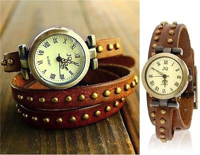 Women's Fashionable Bracelet Analog Watch Cowhide Stylish and Unique Strap Brown