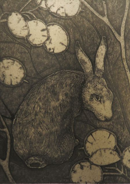 """The Woodcat by Hester Cox (UK) Collagraph, edition size 50, 5"""" x 7"""", £60 Hester Cox is a full-time printmaker specializing in collagraphs Hester Cox graduated in 1994 from Harrow School of Art and Design with a BA(Hons) in Illustration; she lives/works in North Yorkshire."""