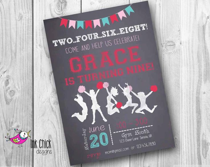 Cheerleader Birthday Invitation, Chalkboard Invitation, Gymnastics, Cheer Party, Printable, Digital File by InkChickDesigns on Etsy https://www.etsy.com/listing/226757858/cheerleader-birthday-invitation