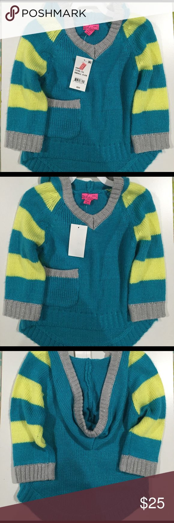 Girls High/Low Sweater W/Hood Size Small 6/6X Cozumel Teal Size Small 98% Acrylic 2% Metalic Other