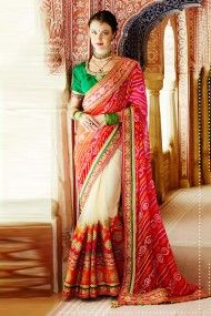 Pure Chiffon Designer Party Wear Saree In Red and Off White Colour