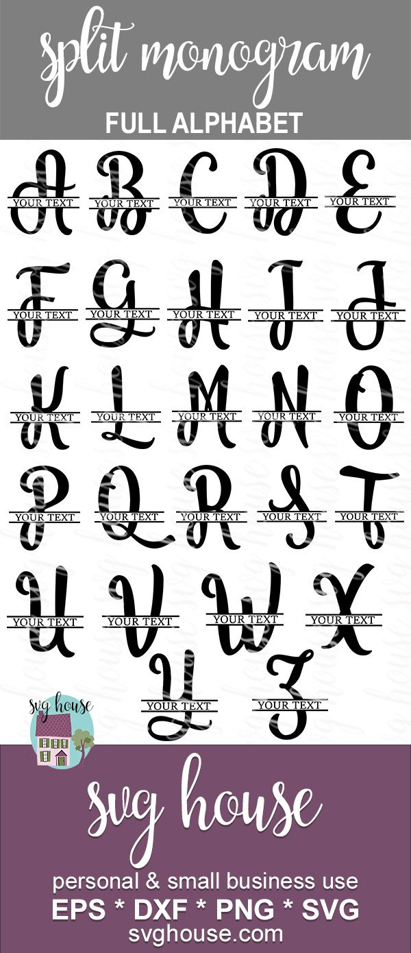 SPLIT MONOGRAM SVG full alphabet vd