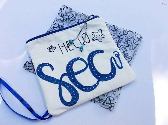 White canvas pouch bag hand painted  with word sea hand