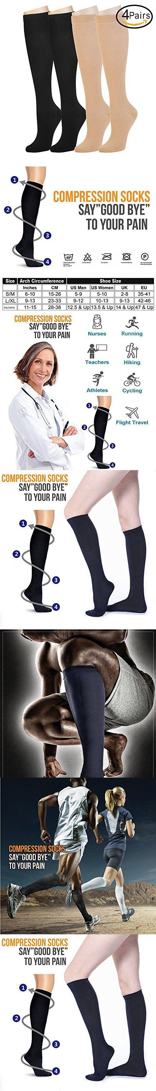 4 Pairs Compression Socks For Women and Men -- Best Medical, Nursing, Athletic, Edema, Diabetic,Varicose Veins , Maternity, Travel, Flight Socks - Running, Fitness -15-20mmHg. (S/M, Assort2)