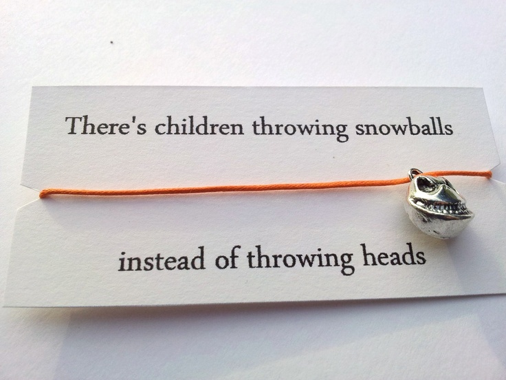 Children throwing snowballs instead of throwing heads Nightmare Before Christmas friendship bracelet.