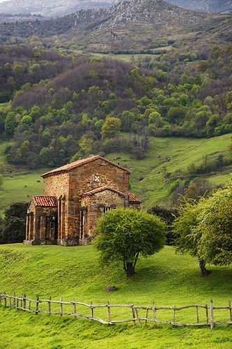 Santa Cristina de Lena is a Roman Catholic Asturian pre-Romanesque church located in the Lena municipality, about 25 km south of Oviedo, Spain, on an old Roman road that joined the lands of the plateau with Asturias... #Asturias #Spain