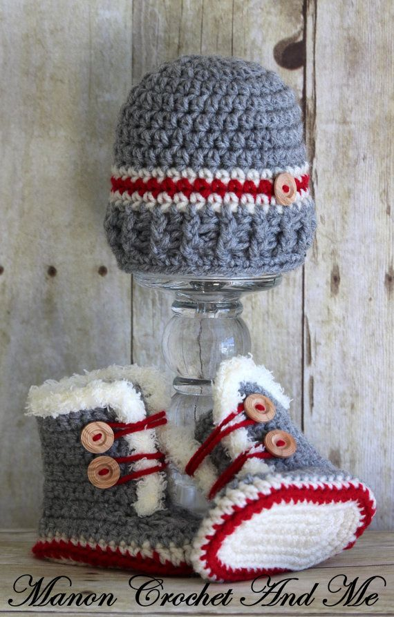 Slippers and hat baby - fur trim baby bootie and hat