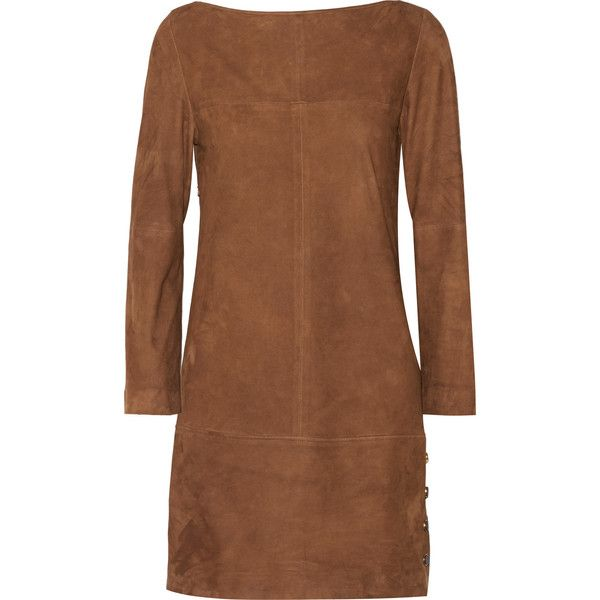 Vanessa Seward - Blunt Suede Mini Dress ($573) ❤ liked on Polyvore featuring dresses, chocolate, chocolate brown dress, short dresses, vanessa seward, brown dresses and chocolate dress
