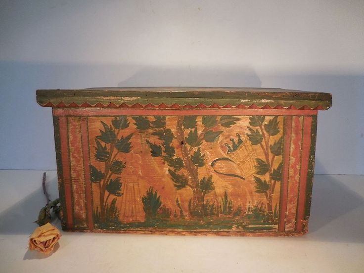 AAFA Miniature Paint Decorated Box Antique Pine Marriage Box Deer Motif #Primitive #FolkArt#PaintedBox