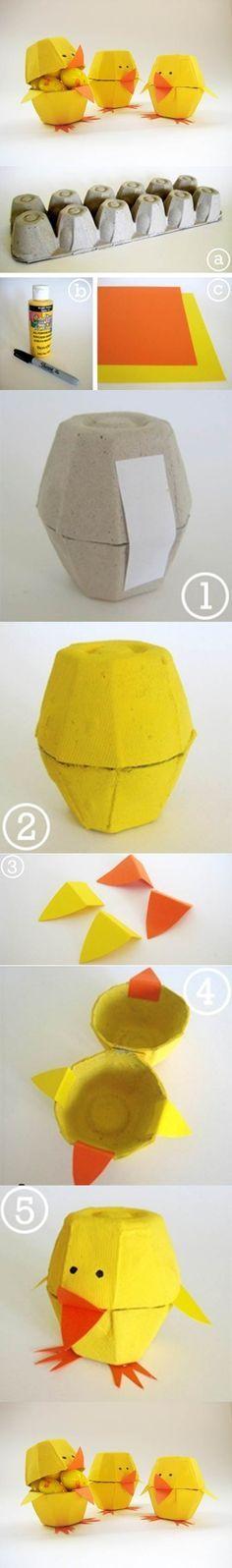Cartón de huevos Craft - Lovely 2 polluelos