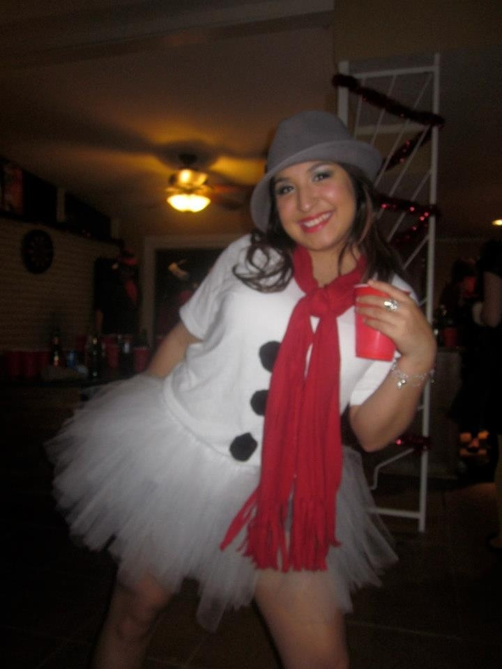 "Snow woman costume for a ""Tacky Christmas Sweater party"" or ""ugly sweater party"" snowman/snow woman. Lol my costume!"