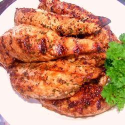 Marinated Turkey Tenderloins.  These moist grilled tenderloins marinate overnight in a savory teriyaki and soy sauce mixture.