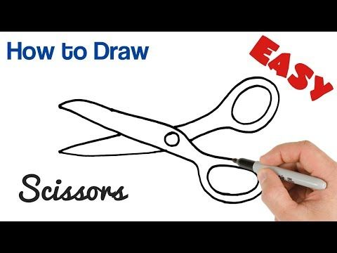 How To Draw Scissors Easy Art Tutorial Step By Step Drawing Youtube Scissors Drawing Easy Drawings Sewing Machine Drawing
