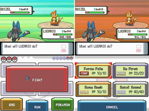 http://dsmedia.ign.com/ds/image/article/782/782443/pokemon_image_1173399814_1177116663.jpg    Pokemon - Battle screen interface - The bottom two pictures were actually touch screen so you could make you selection around the menu quickly, instead of toggling around with your gamepad buttons. Nintendo DS platform.