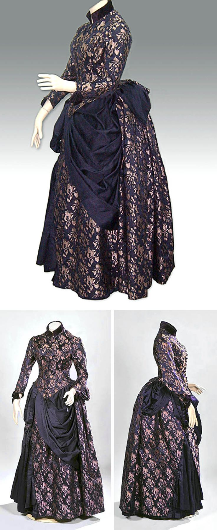 Dress ca. 1885. Silk brocade in purple and lilac. High purple velvet collar and trim at cuffs. Purple satin drapery on skirt. National Historical Museum, Chile
