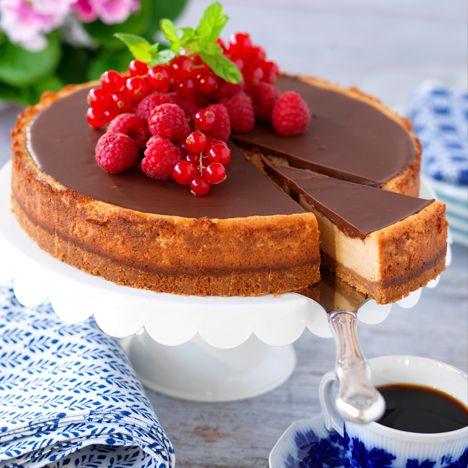cheesecake med choklad och karamelliserad mjölk | chocolate and dulce de leche cheessecake
