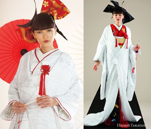 Hisako Takayama Couture Maison -- traditional wedding dress the japanese kimono in red and white, worn with ceremonial long coat uchikake #weddingbelles