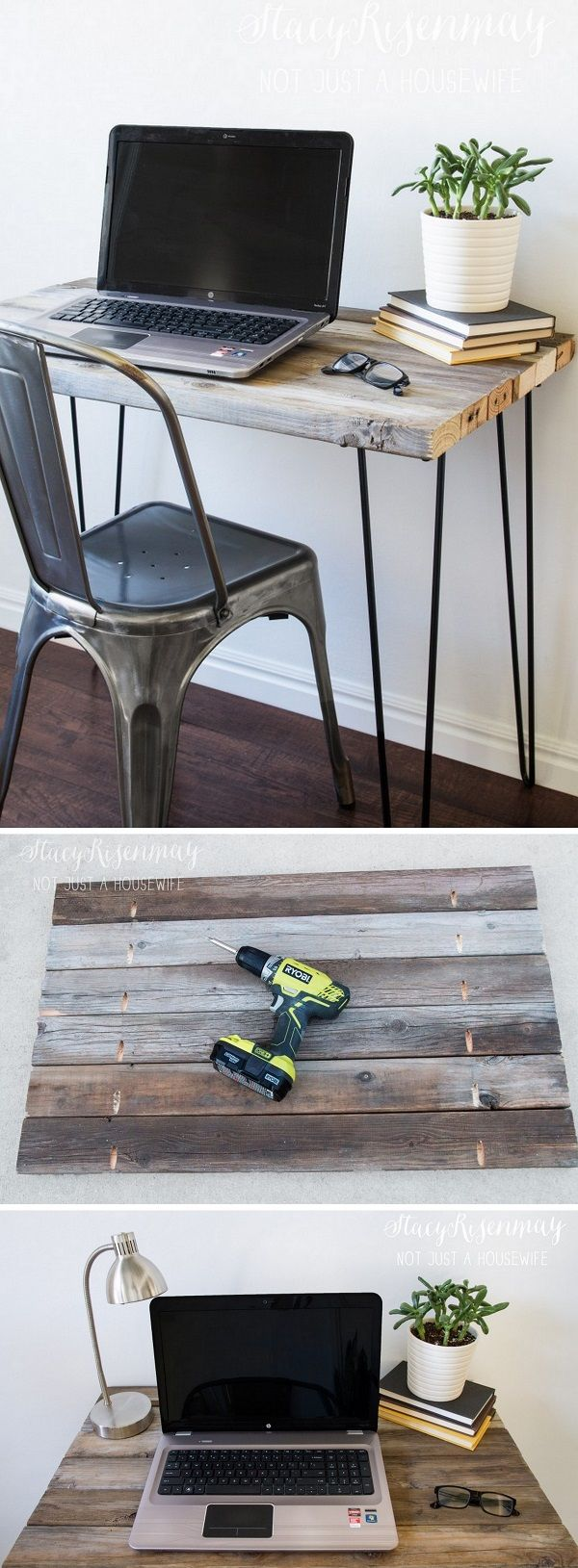 Check out the tutorial how to make a #DIY #reclaimed wood desk with hairpin legs #homedecor #woodworking @istandarddesign