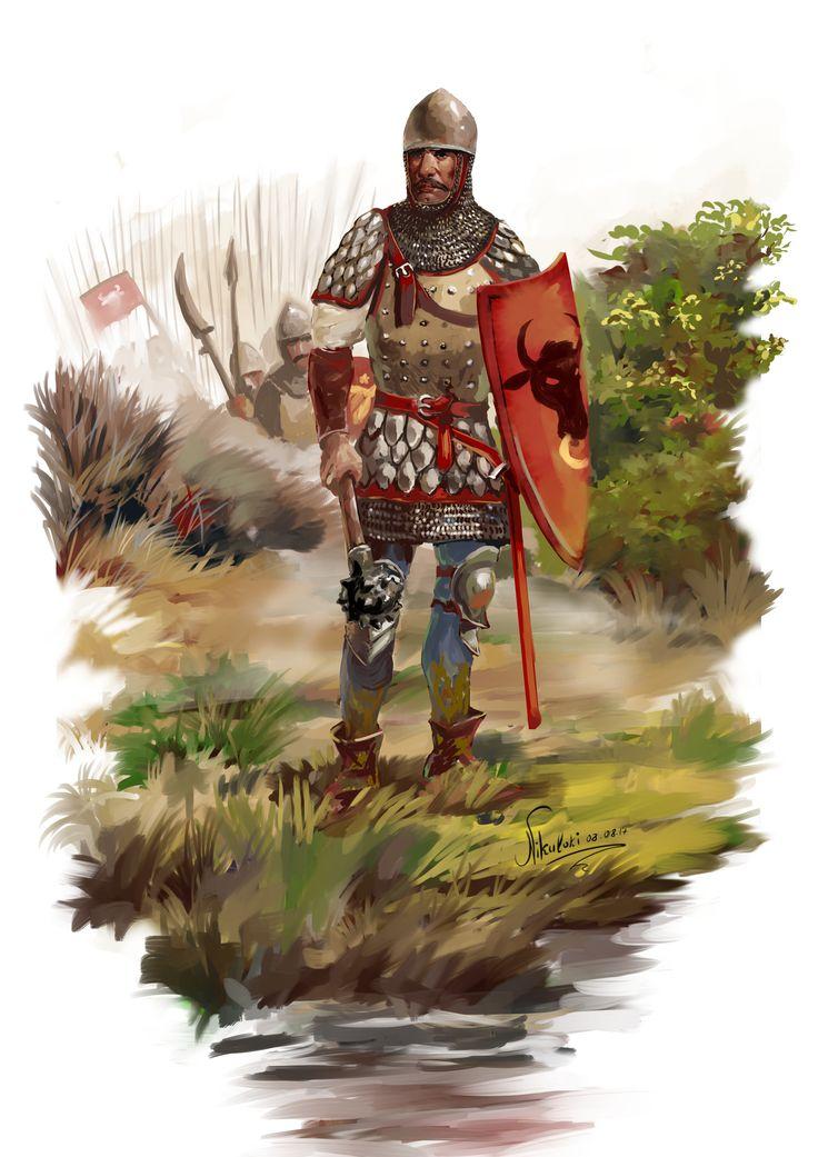 """E bun locul. Aici ii asteptam."" Moldavian warrior, ""viteaz"",of the 15th century by Nikuloki (Sergiu Niniku)"
