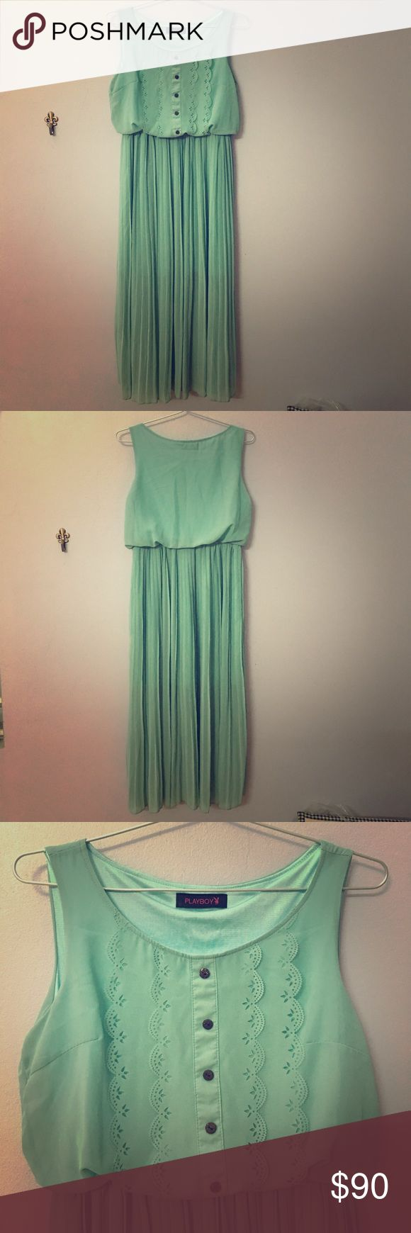 PLAYBOY mint lovely maxi dress 👗 Playboy mint maxi. Bought from showroom so it's authentic Playboy! Very lovely 👗Currently I'm not in the US, so I can't ship until Aug! SO IF YOU ARE INTERESTED, PLS DON'T BUY UNTIL THEN!! Sorry for that 😅 Playboy Dresses Maxi