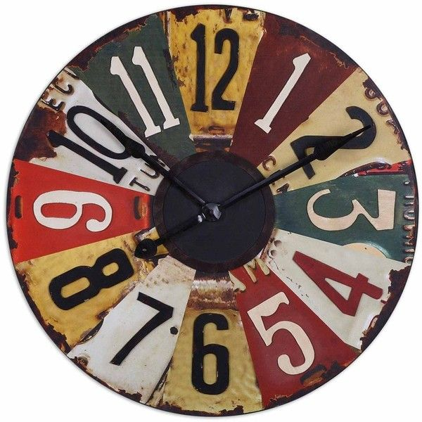 Uttermost Rustic Bronze Vintage License Plates 29-inch Wall Clock ($205) ❤ liked on Polyvore featuring home, home decor, clocks, black, detail, embellishment, car wall clocks, word clock, bronze plate and bronze wall clock