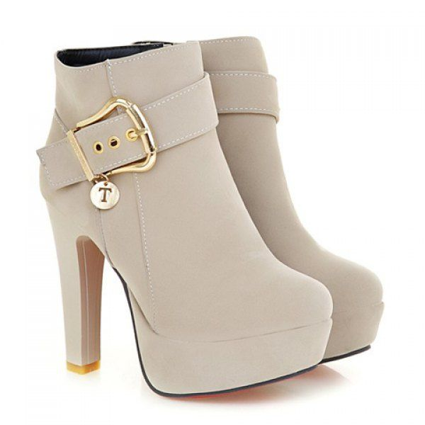 Trendy Chunky Heel and Metallic Buckle Design Women's Suede Boots, NUDE, 39 in B…