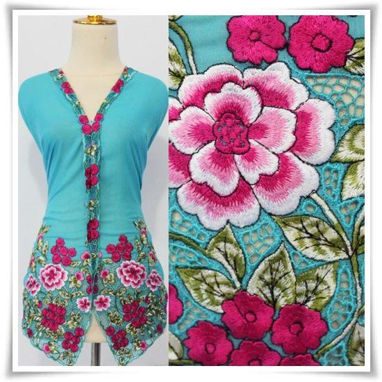 baju kebaya nyonya biru bunga pink