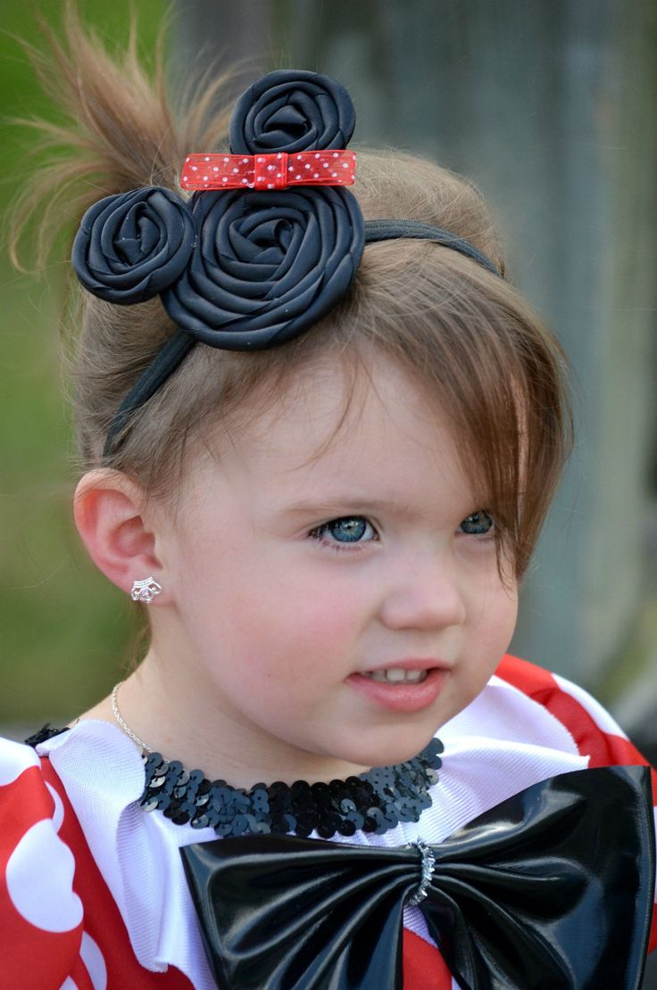 Minnie Mouse Inspired Rosette headband-Toddler to Adult size- Made to order. $6.50, via Etsy.