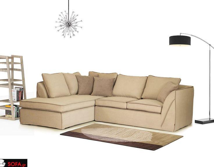 Γωνιακός καναπές Sofa σε μπέζ ύφασμα κια ανοιχτόχρωμο φιλέτο  http://www.sofa.gr/epiplo/goniakos-kanapes-sofa  Corner sofa modern design