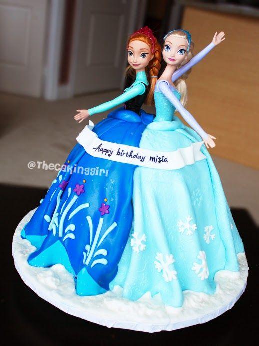 pretty elsa and anna doll cake