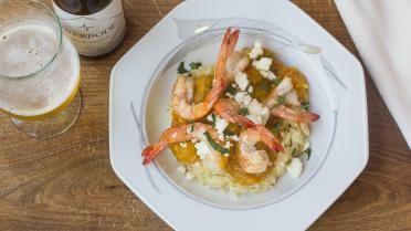 Gamba's diabolique met Griekse pasta