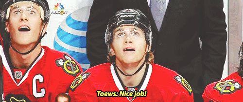 10/21/14 Flyers @ Blackhawks: Jonathan Toews and Patrick Kane admire Kane's second goal of the night
