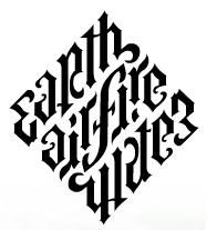 Ambigram; The real illuminati diamond (earth air fire water) This is definitely an experimental typeface