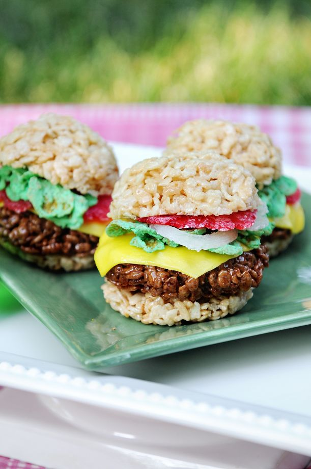 "SO stinkin' cute!!! Rice Krispies Treats ""burgers"" and watermelon slices! (Recipe for the watermelon slices, but not the burgers. How hard could it be, though?)"