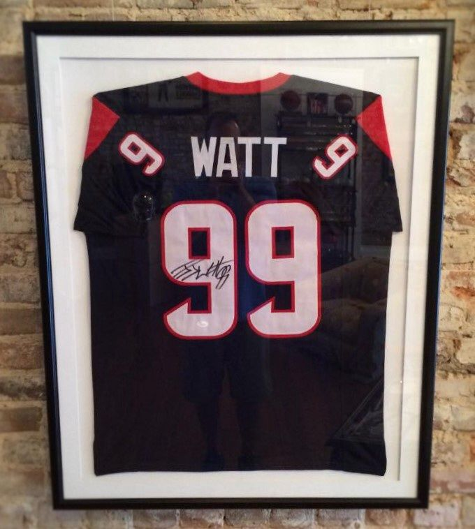 Product Description JJ Watt autographed custom framed Houston Texans jersey. JJ Watt is arguably the most dominant defensive player in the NFL today! He is on pace to becoming one of the greatest to ever play his position. This piece comes certified by JSA.